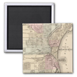 Vintage Map of Milwaukee (1880) 2 Inch Square Magnet