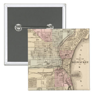 Vintage Map of Milwaukee 1880 Pinback Buttons