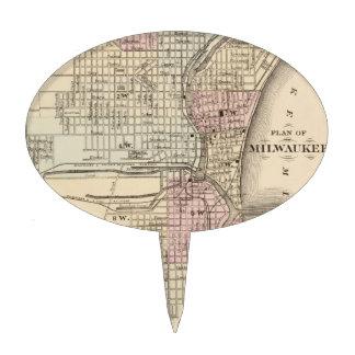 Vintage Map of Milwaukee 1880 Cake Picks