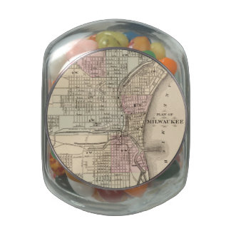 Vintage Map of Milwaukee 1880 Jelly Belly Candy Jars