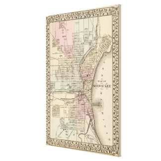 Vintage Map of Milwaukee 1880 Gallery Wrapped Canvas
