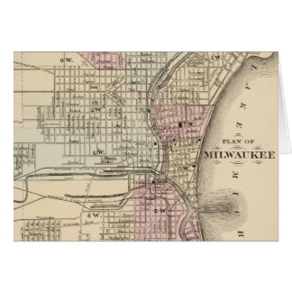 Vintage Map of Milwaukee (1880) Card