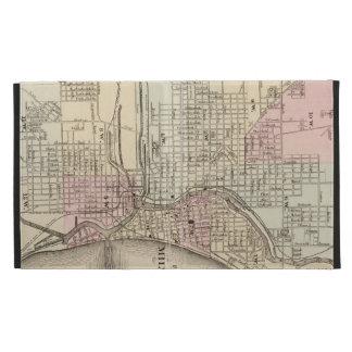Vintage Map of Milwaukee 1880 iPad Folio Cases