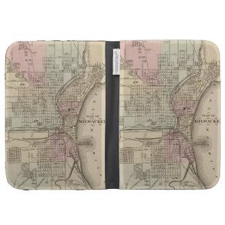 Vintage Map of Milwaukee 1880 Kindle 3 Cases