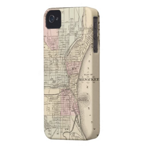 Vintage Map of Milwaukee (1880) Case-Mate iPhone 4 Cases