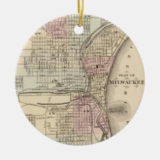 Vintage Map of Milwaukee (1880) Ceramic Ornament