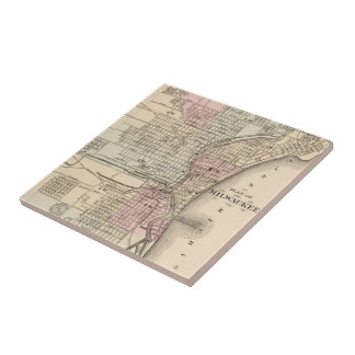 Vintage Map of Milwaukee (1880) Ceramic Tile