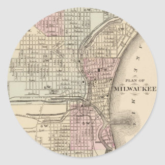 Vintage Map of Milwaukee (1880) Classic Round Sticker