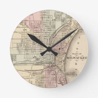 Vintage Map of Milwaukee 1880 Round Wall Clock