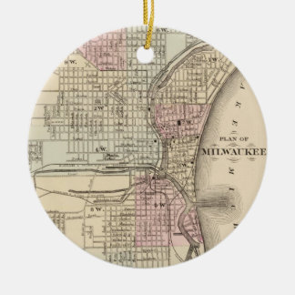 Vintage Map of Milwaukee (1880) Double-Sided Ceramic Round Christmas Ornament