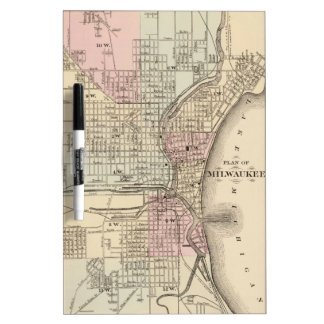 Vintage Map of Milwaukee 1880 Dry Erase Board