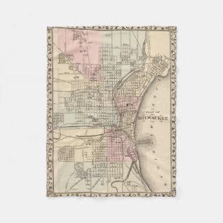 Vintage Map of Milwaukee (1880) Fleece Blanket