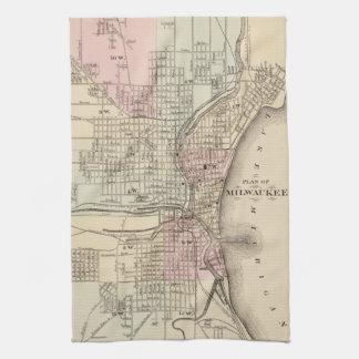 Vintage Map of Milwaukee 1880 Kitchen Towel