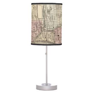 Vintage Map of Milwaukee 1880 Lamp