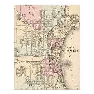 Vintage Map of Milwaukee 1880 Letterhead