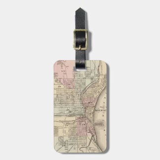 Vintage Map of Milwaukee 1880 Tag For Bags