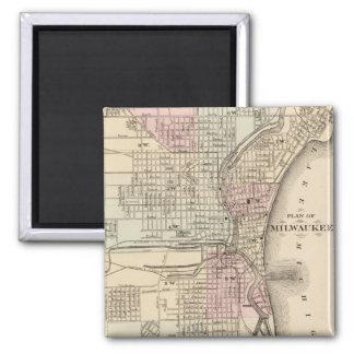 Vintage Map of Milwaukee 1880 Refrigerator Magnets