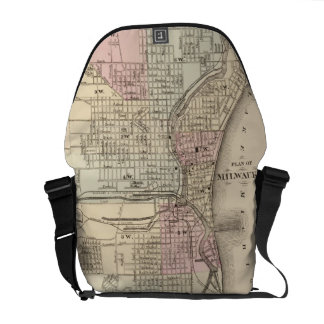 Vintage Map of Milwaukee 1880 Courier Bags