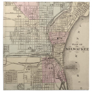 Vintage Map of Milwaukee (1880) Napkin
