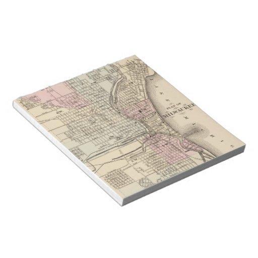 Vintage Map of Milwaukee (1880) Notepad