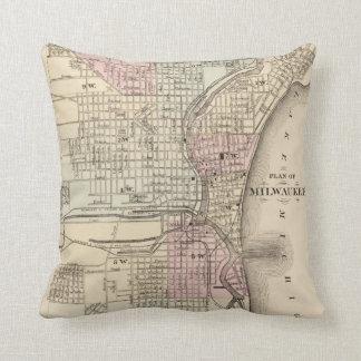 Vintage Map of Milwaukee 1880 Throw Pillows