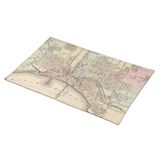 Vintage Map of Milwaukee 1880 Place Mats