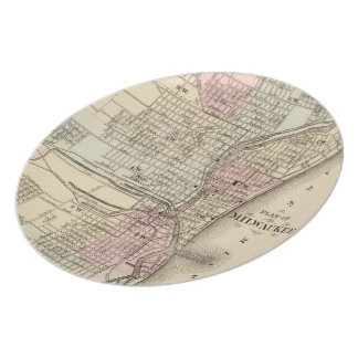 Vintage Map of Milwaukee 1880 Party Plates
