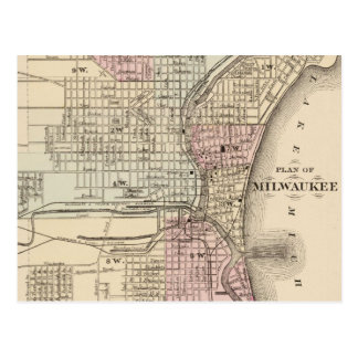 Vintage Map of Milwaukee 1880 Post Cards