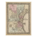 Vintage Map of Milwaukee (1880) Poster