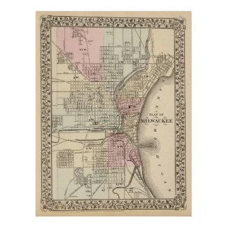 Vintage Map of Milwaukee 1880 Poster