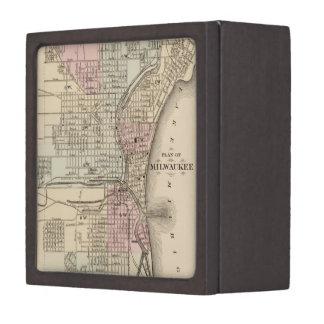 Vintage Map of Milwaukee 1880 Premium Gift Box