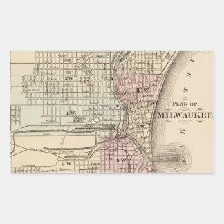 Vintage Map of Milwaukee (1880) Rectangular Sticker