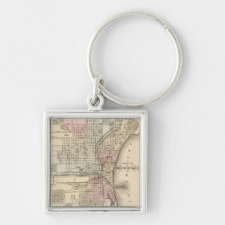 Vintage Map of Milwaukee (1880) Silver-Colored Square Keychain