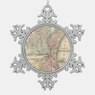 Vintage Map of Milwaukee (1880) Snowflake Pewter Christmas Ornament