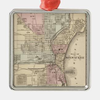 Vintage Map of Milwaukee (1880) Square Metal Christmas Ornament
