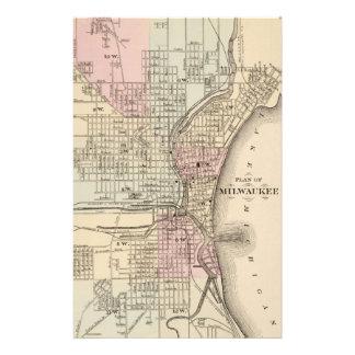Vintage Map of Milwaukee 1880 Stationery Design