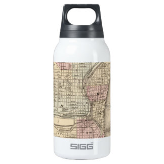 Vintage Map of Milwaukee (1880) Thermos Bottle