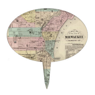 Vintage Map of Milwaukee Wisconsin (1878) Cake Topper