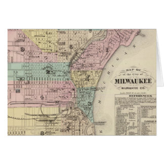 Vintage Map of Milwaukee Wisconsin (1878) Card