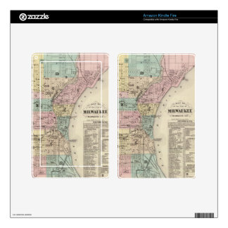 Vintage Map of Milwaukee Wisconsin (1878) Decals For Kindle Fire