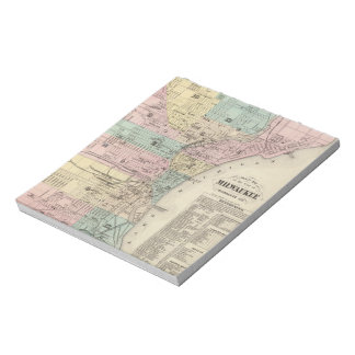 Vintage Map of Milwaukee Wisconsin (1878) Notepad