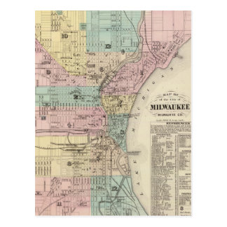 Vintage Map of Milwaukee Wisconsin (1878) Postcard