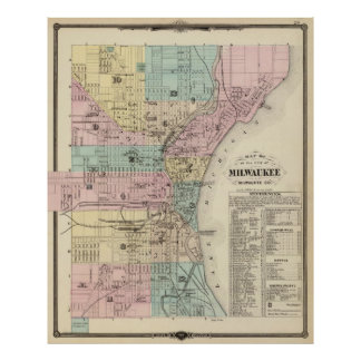 Vintage Map of Milwaukee Wisconsin (1878) Poster