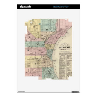 Vintage Map of Milwaukee Wisconsin (1878) Skins For iPad 2