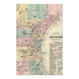 Vintage Map of Milwaukee Wisconsin (1878) Stationery