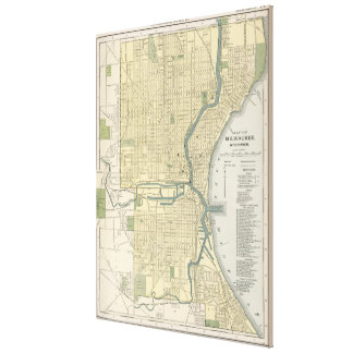 Vintage Map of Milwaukee Wisconsin (1891) Canvas Print