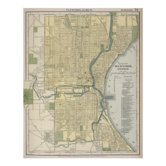 Vintage Map of Milwaukee Wisconsin (1891) Poster