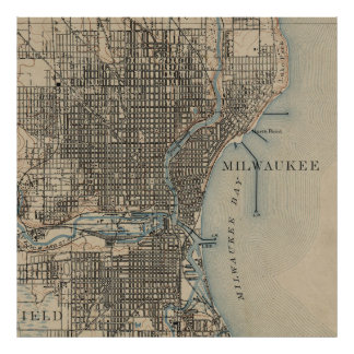 Vintage Map of Milwaukee Wisconsin (1899) Poster
