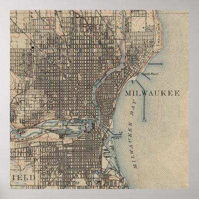 Vintage Map Of Milwaukee Poster Zazzlecom - Vintage milwaukee map