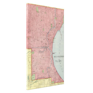 Vintage Map of Milwaukee Wisconsin (1903) Canvas Print